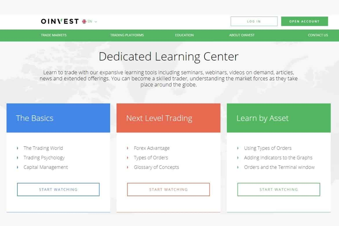 Learning Center of Oinvest Broker