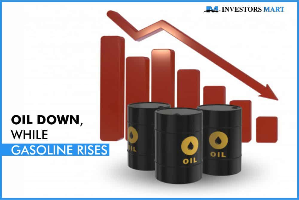 Oil down, while gasoline rises